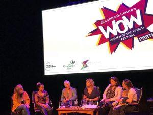 Colette Walker speaking at the Women of the World festival
